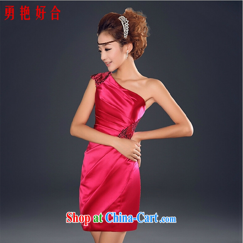 Yong-yan and 2015 new summer bridesmaid dress short bridal toast marriage service single shoulder beauty dress female Red M