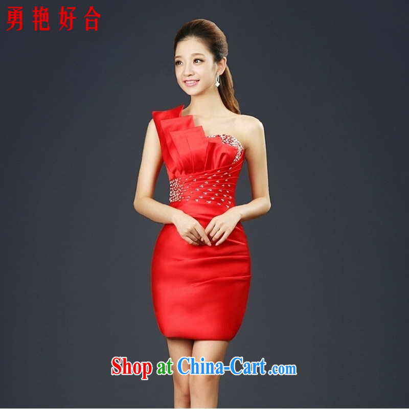 Yong-yan and bride's toast service summer 2015 New Evening Dress banquet red short dress beauty single shoulder bridesmaid clothing skirts Red. size color will not be returned.