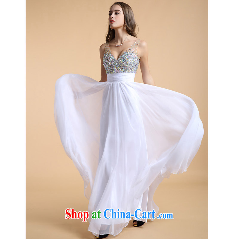 New cultivating high-waist dress short Deep V small dress sexy Evening Dress short skirt Korean short, Evening Dress spring and summer white long XXXL