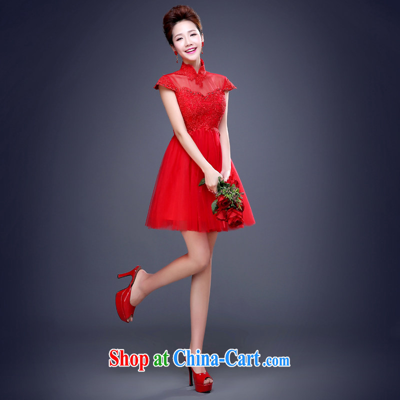 Jie MIA 2015 new wedding dresses red cheongsam dress short large code marriages served toast summer short-sleeved Short Shipment Suzhou red L