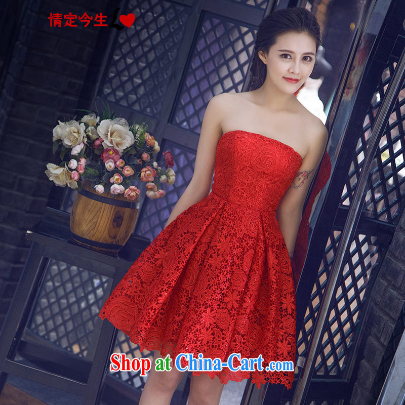 Love Life new, summer 2015 Korean red wiped his chest lace-up waist graphics thin short and knee bridal toast dinner serving small dress red XXL