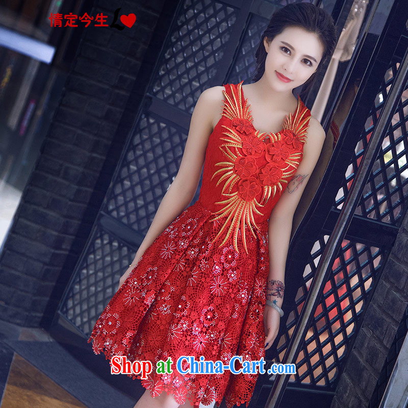 Love Life new 2015 summer retro embroidered a waist graphics thin strap lace a small shoulder dress bridal toast clothing dresses red XXL