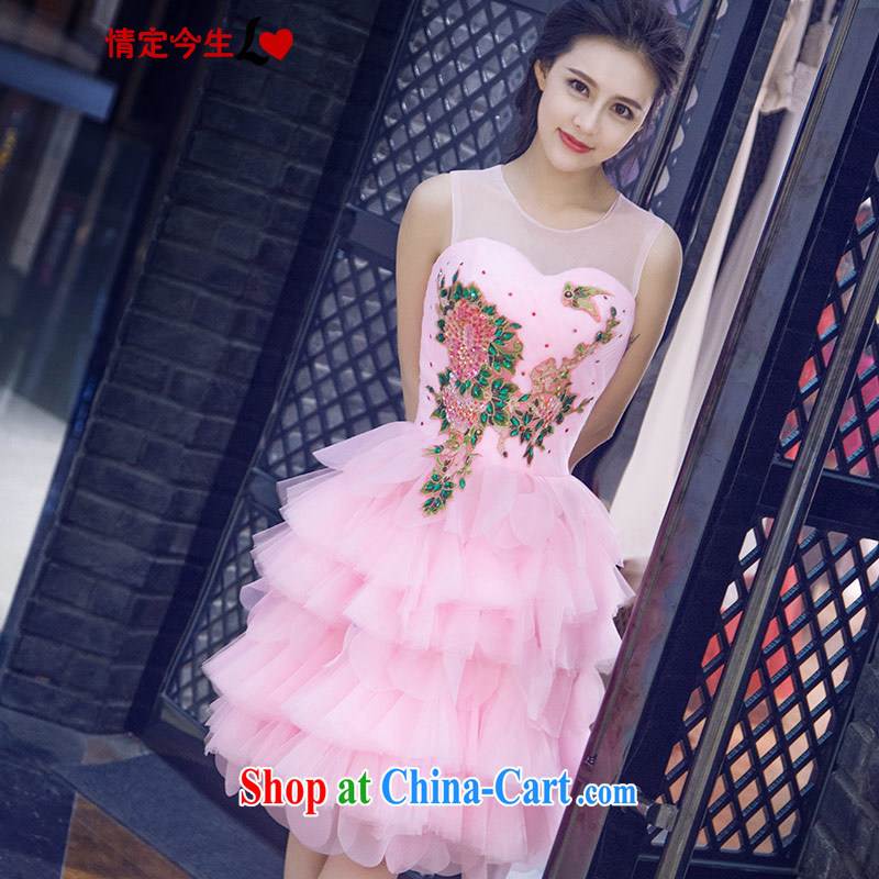 Love Life new 2015 summer retro embroidery shaggy dress small dress sweet pink wedding bridesmaid clothing pink XXL