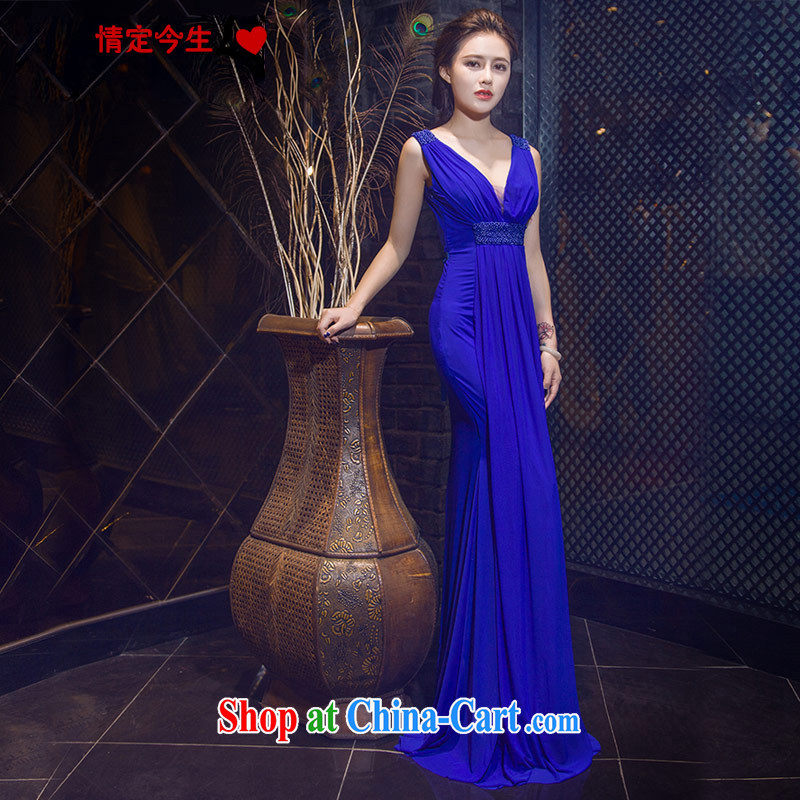 Love Life new 2015, SENSE FOR V crowsfoot cultivating graphics thin upscale banqueting evening dress blue long dress blue made for a message size