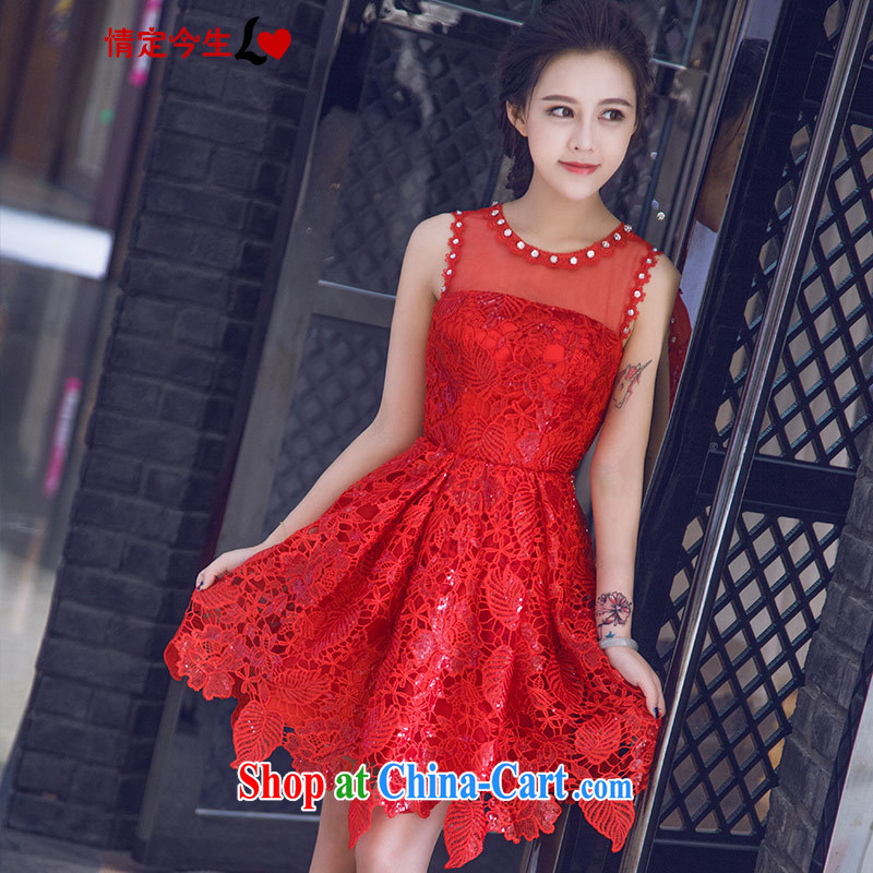 Love Life new 2015 stylish sweet words wipe shoulder chest Korean Red lace zipper, bridal video skinny dress field shoulder XXL