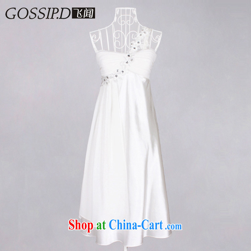 5, 2014 new, short, Princess banquet dress US and Europe style dress with shoulder dress dress 1028 white L
