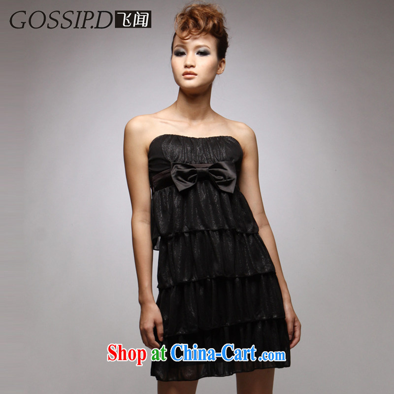 GOSSIP . D special 2014 European night sexy banquet wiped chest dress dress black beauty video thin dress 1030 black M