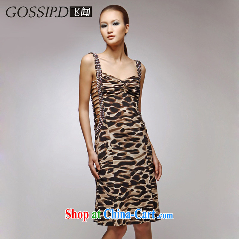 GOSSIP . D flying about 5 fold Bar Night Club dress sexy dress skirt short language empty the banquet small dress 1060 brown Leopard M