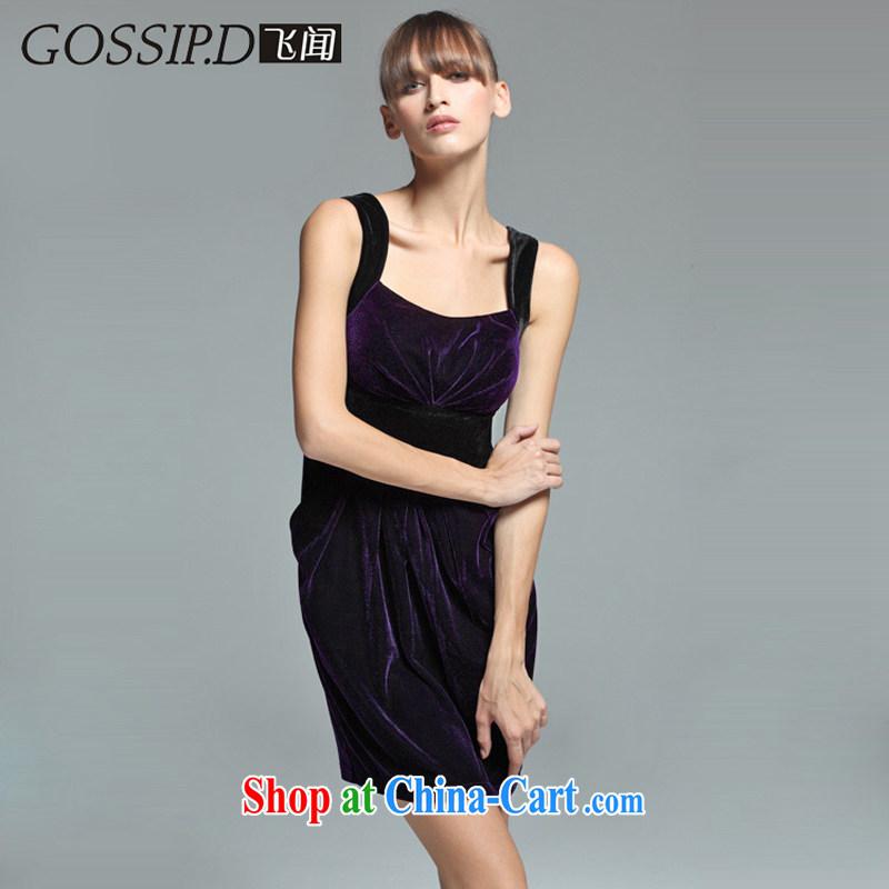 GOSSIP . D Fly Europe and heard the velvet dress dress beauty charm small dress shoulders banquet Evening Dress 1602 purple L