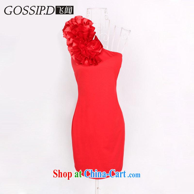 GOSSIP . D heard the original single shoulder stereo take short Evening Dress beauty graphics thin dress skirt banquet small dress 1799 red L