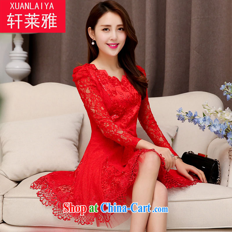 Hin'Oreal 2015 spring and summer, long wedding dresses bridal back door dress graphics thin beauty long-sleeved dinner will be served toast red XXL