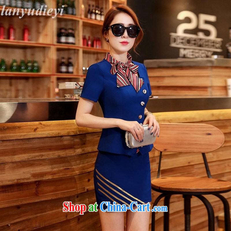 Ling Kou _ summer Career Women's clothes skirt set air stewardesses uniforms beauty jewelry sale hotel clothing dress two-piece blue XXL