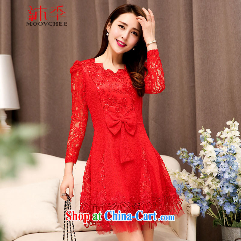Mu season autumn 2015 new, simple and elegant ladies dress bridal toast long dresses cultivating the waist graphics thin back-door dress 1527 red M