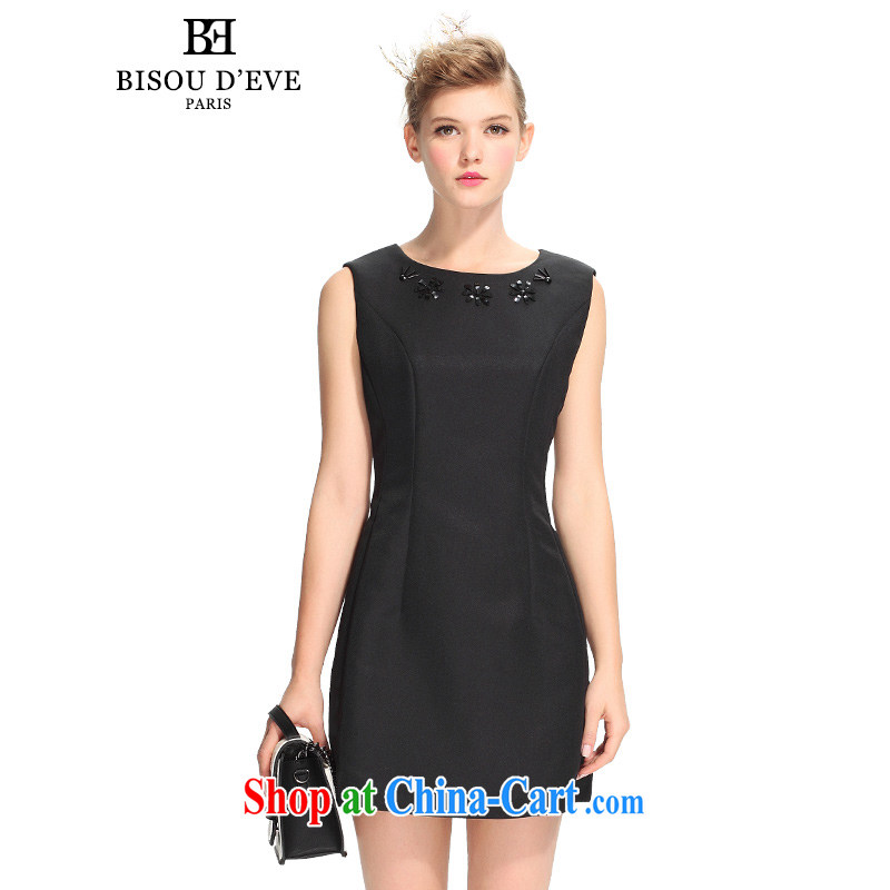 Pi-Mrs Diana would fall 2015 new round-collar sleeveless, long retro A Field dress dress the waist close cultivating graphics thin BH 01134171 black L