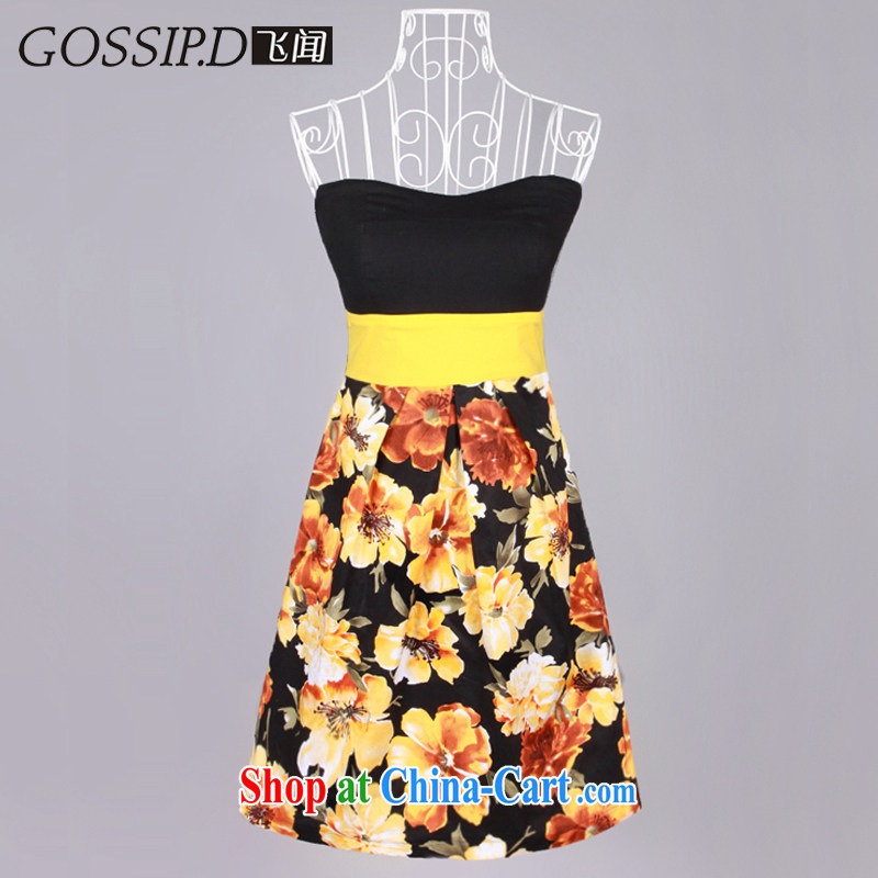 GOSSIP . D 2015 summer vacation in Europe and casual dress dress party cultivating everyday dress chest bare dress 1019 Yellow/black M