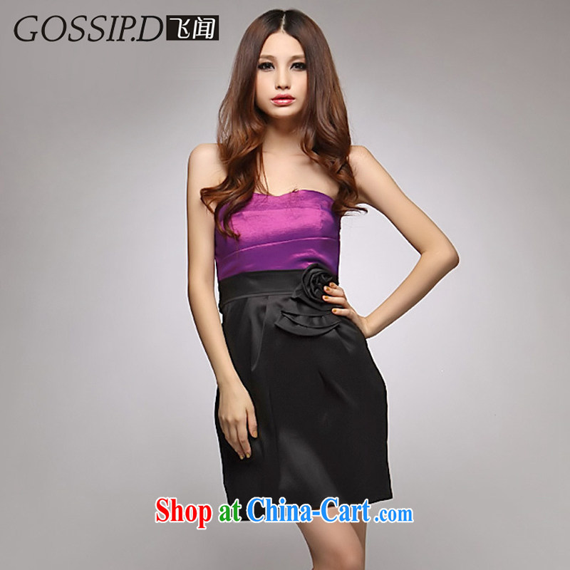 GOSSIP . D special offers elegant European Dress skirt dress reception wiped chest dresses beauty skirt annual 1047 toner purple L