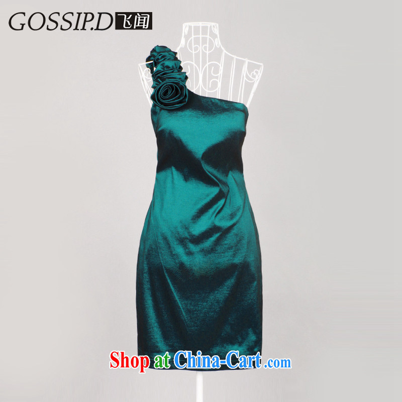 GOSSIP . D bridesmaid dress bridal dresses serving toast Elegant shoulder a small annual dress beauty short Evening Dress 1056 green lake L