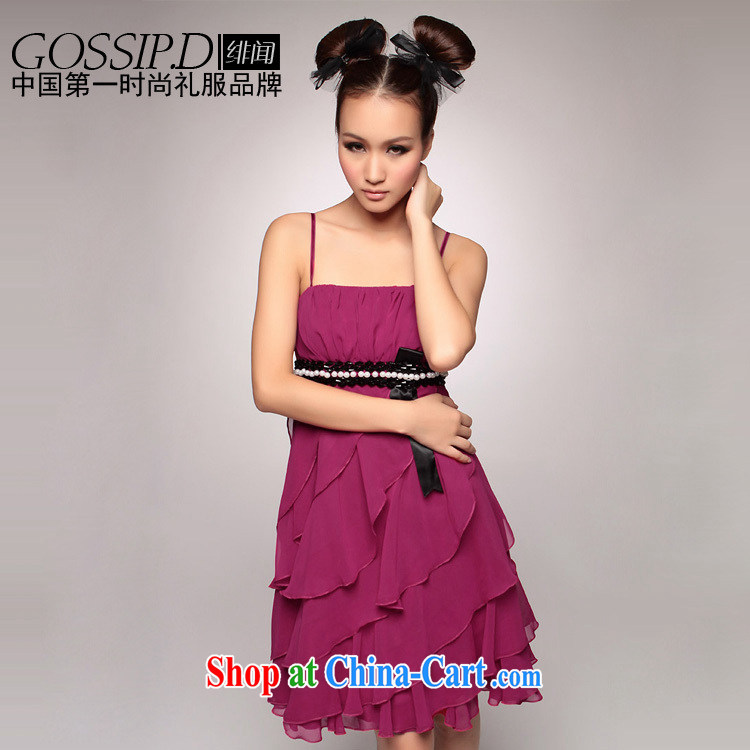 GOSSIP . D annual Europe Evening Dress dress dress wiped chest dress short Princess small dress bridesmaid dress 1087 purple L