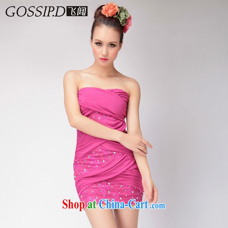 GOSSIP . D fly that special high-waist and sexy night dress small reception performances of Yuan dress short dress of 1166 red L