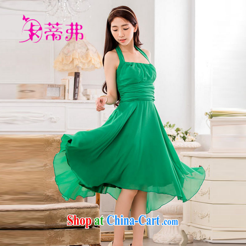 Mari Alkatiri, summer 2015 new hot scarf tie and wrinkled video thin large skirt with snow woven small dress Yang fitting dresses F 7845 green is code