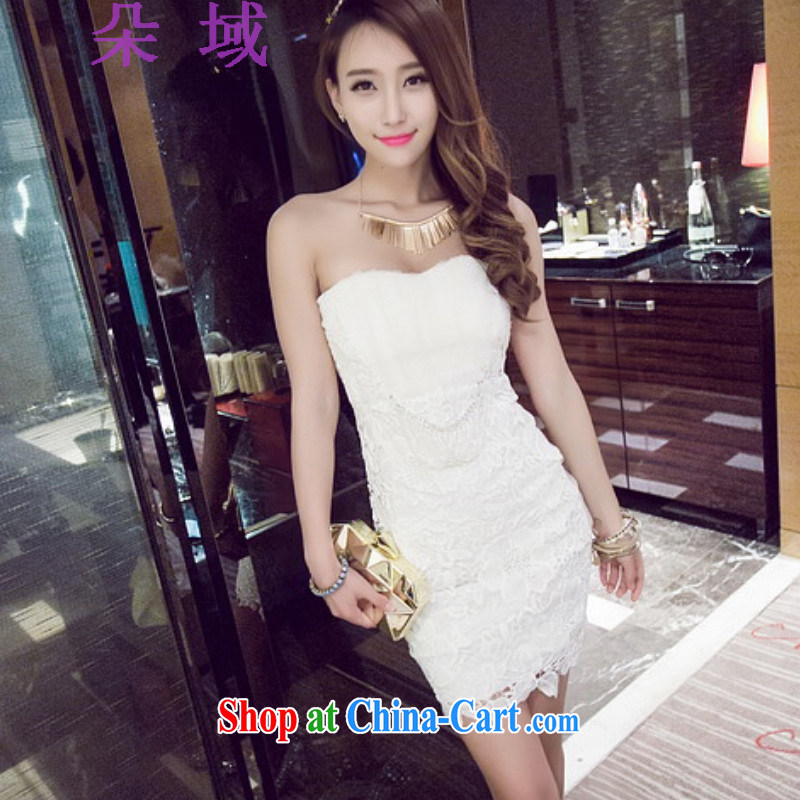 flower field summer 2015 new women's clothing store night-wind wiped chest beauty graphics thin dress skirts dresses 8945 white L