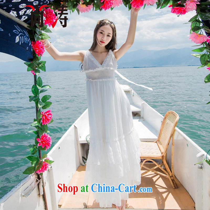 It's summer 2015 new Snow woven softness large low chest holiday dress dress dress long dress D 0601 white L