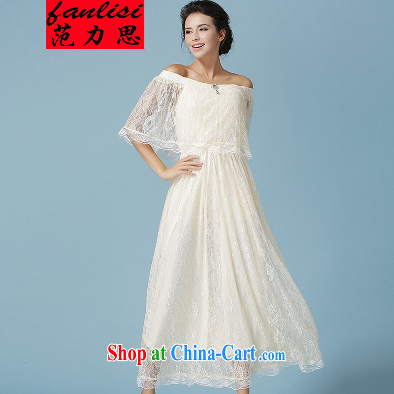 van, the 2015 European go-soo new Solid Color lace shawl cloak Queen van dress long skirt dresses apricot L