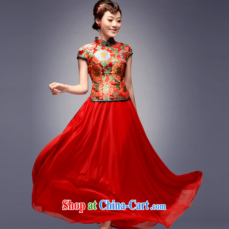 David WILSON, 2015 new summer bridal retro red wedding dresses marriage long serving toast dresses bridal Red Red XXL after payment about a week shipment