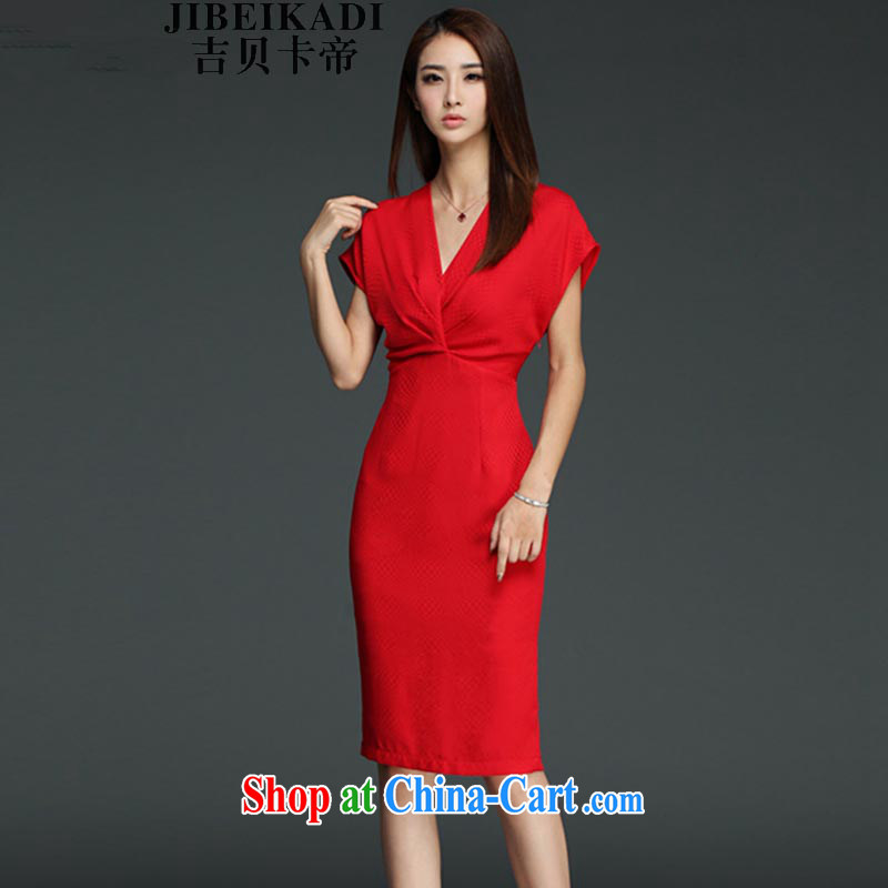 The Bekaa in Dili 982 #2015 summer new sexy V collar wrinkled red dress video thin beauty package and skirt in red XXL