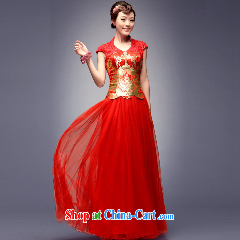 Sir David WILSON, 2015 new stylish Chinese Antique wedding dresses summer and autumn bows with his red Chinese long marriage bridal gown dress red XXL payment about a week shipment