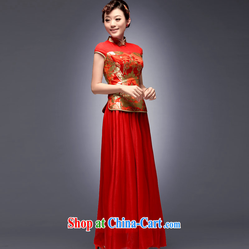 Sir David WILSON, 2015 new summer and fall with bridal cheongsam dress upscale retro improved stylish long cultivating their bows Red Red XXL