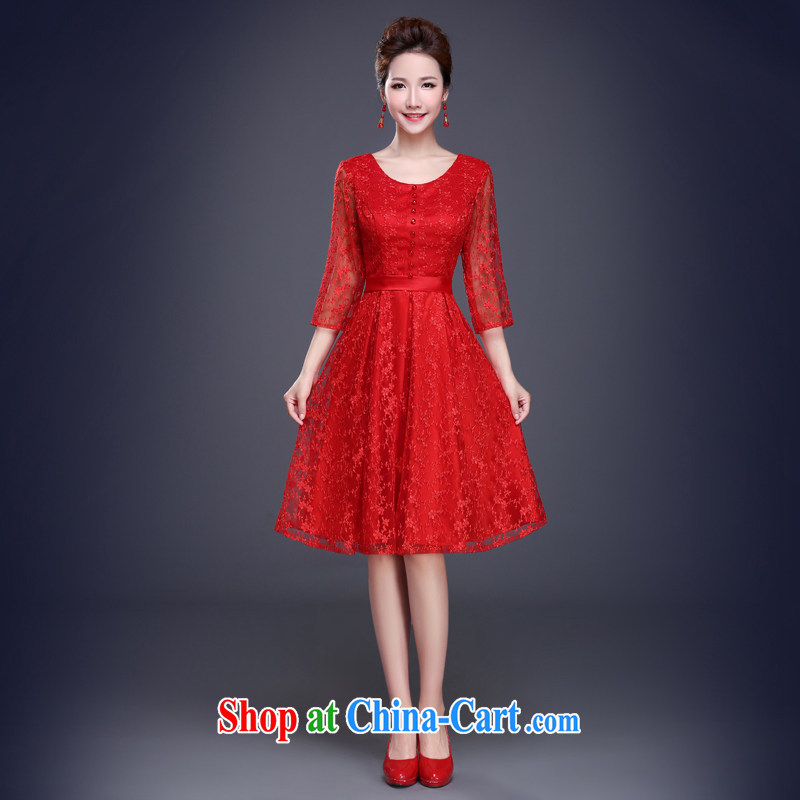 Jie MIA toast service 2015 new summer wedding dresses bridal wedding red evening dress champagne color bridesmaid service banquet red XXL