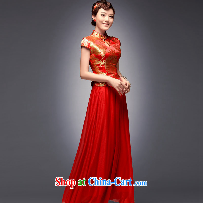 Sir David WILSON, 2015 new tray snap embroidery antique dress long red stylish improved Chinese wedding dresses skirt red XXL after payment about a week shipment