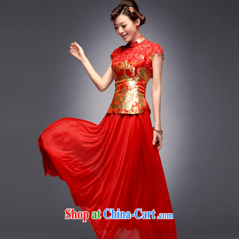 Sir David WILSON, 2015 new summer and fall with long-serving reel small Fengxian long red Chinese Antique wedding dress dress uniform toast red XXL after payment about a week shipment