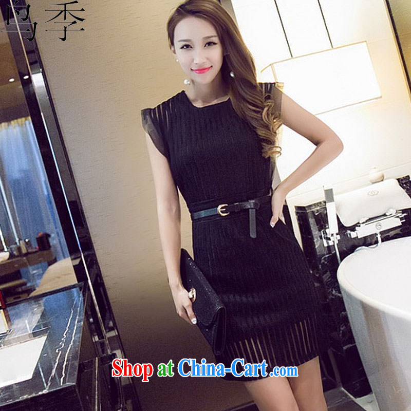 Bird season summer 2015 new stylish Web by cultivating the waist graphics thin package and dresses female L 1046 black XL