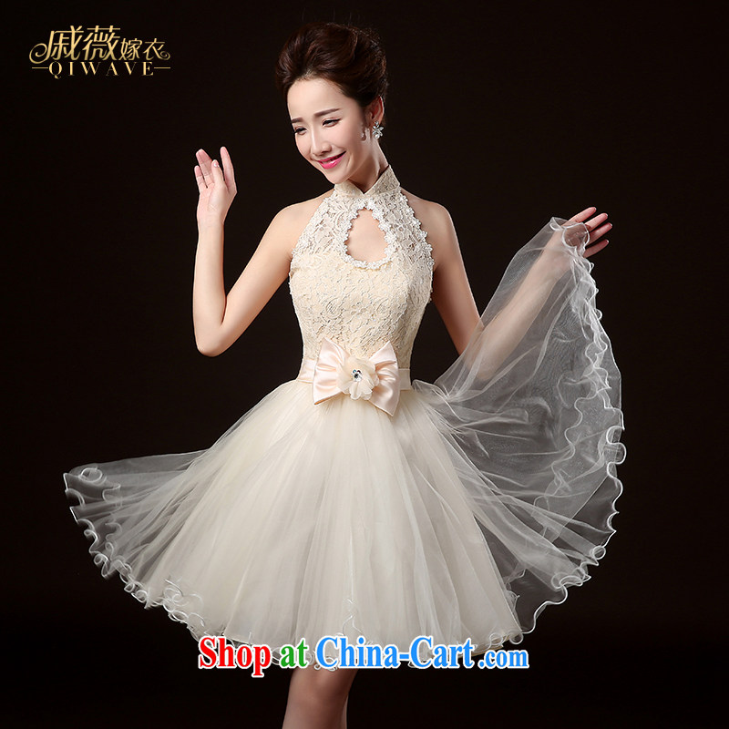 Qi wei summer 2015 new Korean dress bridesmaid serving short, champagne color is also tied with, sister dress bridesmaid clothing moderator dress dress girls white XXL
