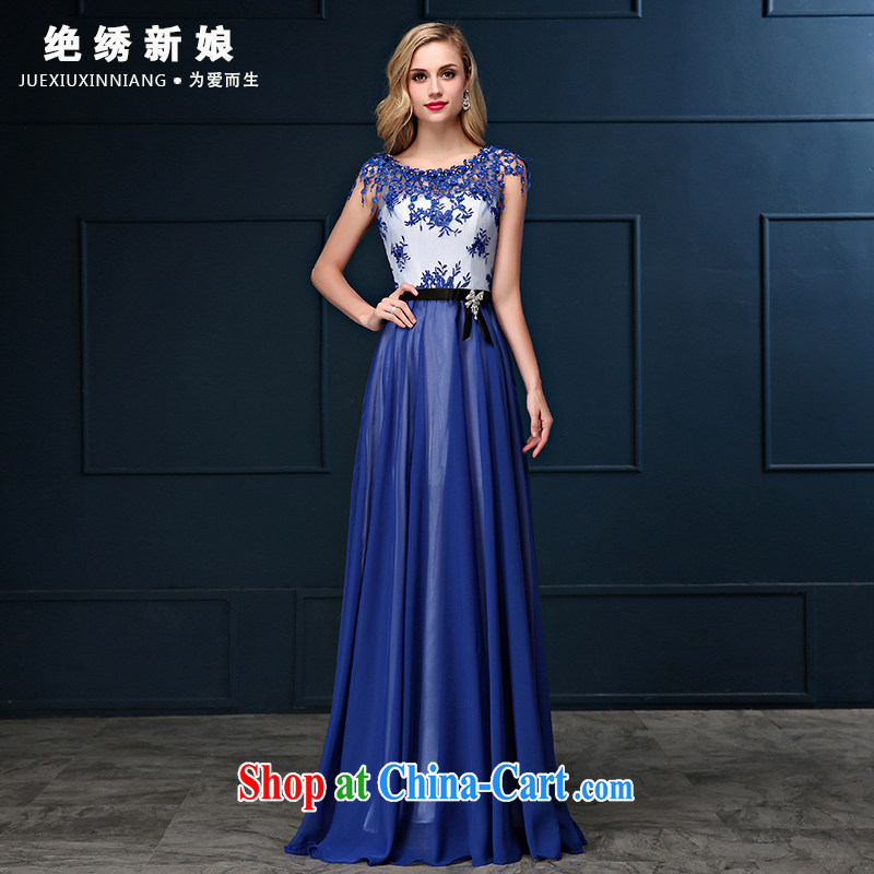 bridesmaid dresses summer 2015 new Korean double-shoulder cultivating large yards, banquet video thin bridal wedding dress blue S Suzhou shipping