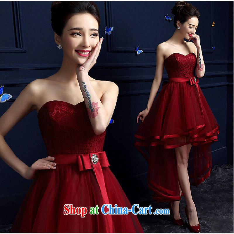 Toasting Service Bridal Fashion 2015 new spring length, wedding dress Evening Dress wiped his chest after a long female summer deep red tailored contact Customer Service