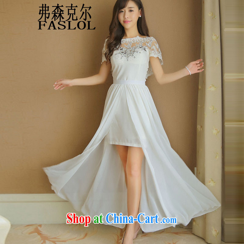 Drill nails Pearl wood drill dresses Korean short name Yuan dress skirt long skirt 3226 white L