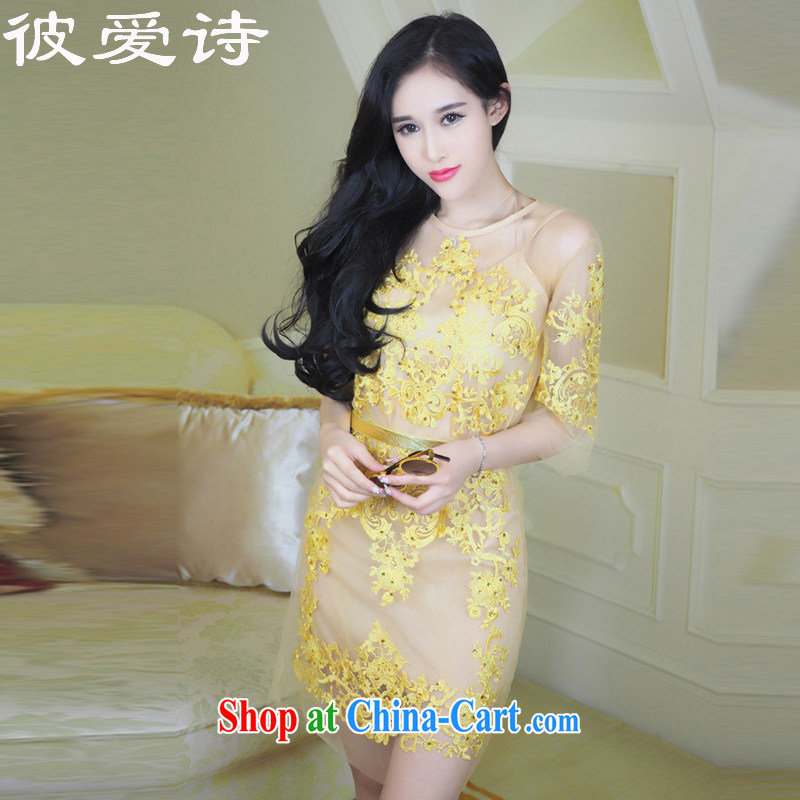 They love poems 2015 new advanced custom gold embroidery name Yuan dress 2 piece set sexy fluoroscopy lace dresses picture color L