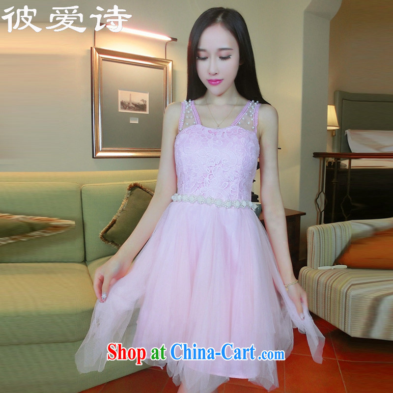 They love poems 2015 summer new sweet princess, lace the pearl Web yarn stitching sexy night dress Pink dresses are code