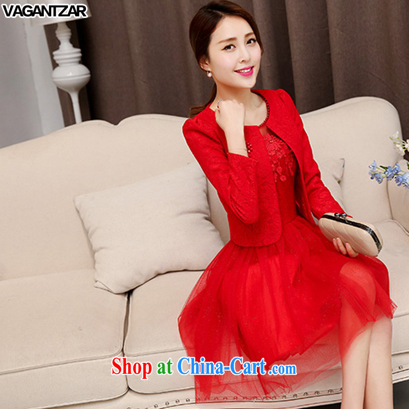 Spring and Autumn VAGANTZAR new large red bride fitted dresses marriage back door bows dress lace red dress two-piece 1529 red XXL