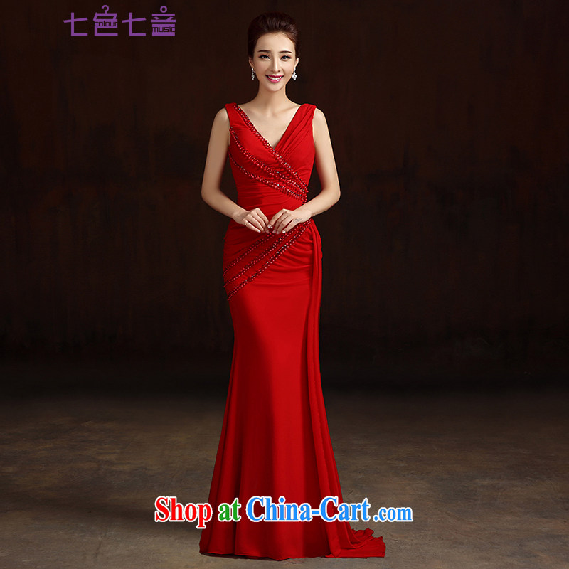 7 color 7 tone dress 2015 new summer fashion bridal long with graphics thin toast service banquet moderator dresses L 048 female Red L