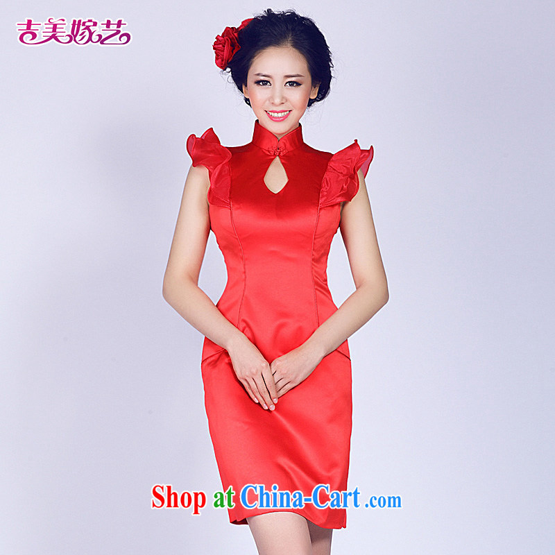 wedding dresses Jimmy married arts 2015 new bag shoulder Korean short dress L 522 bridal gown red XL