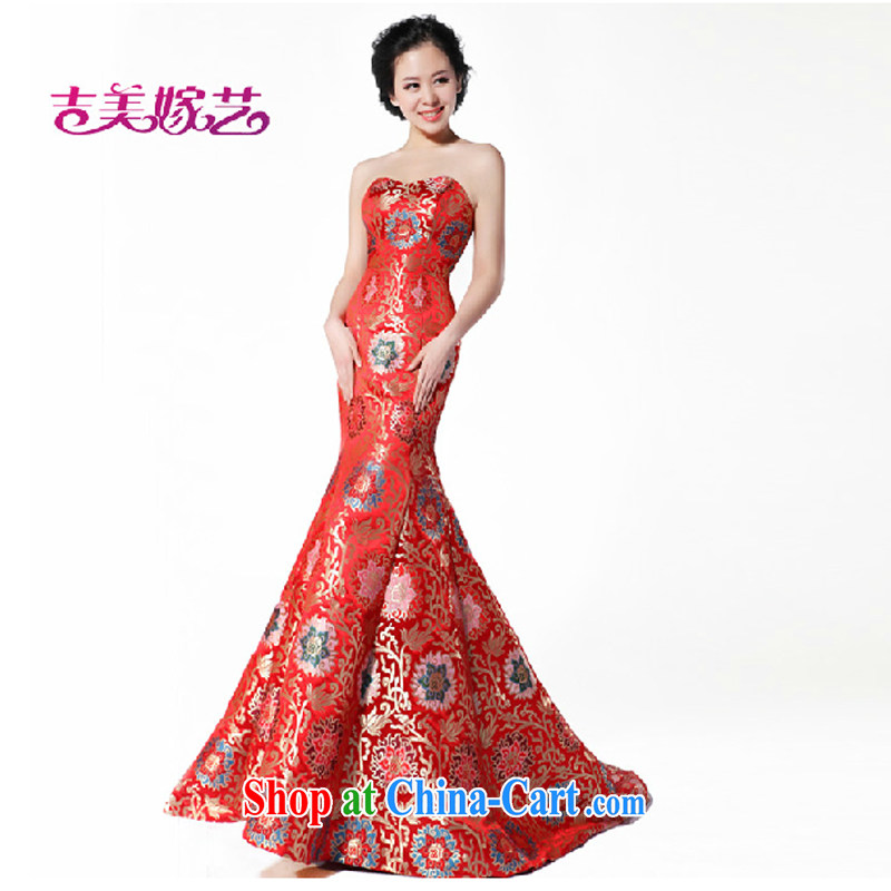 wedding dresses Jimmy married arts 2015 new Mary Magdalene antique chest dress tail LT 995 bridal gown red L