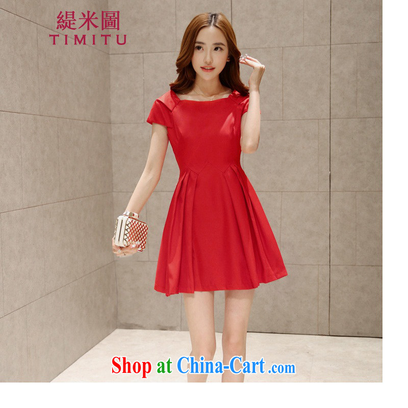 Economy The 2015 summer dress style red dress dresses won a field for cultivating graphics thin retro skirt red XL