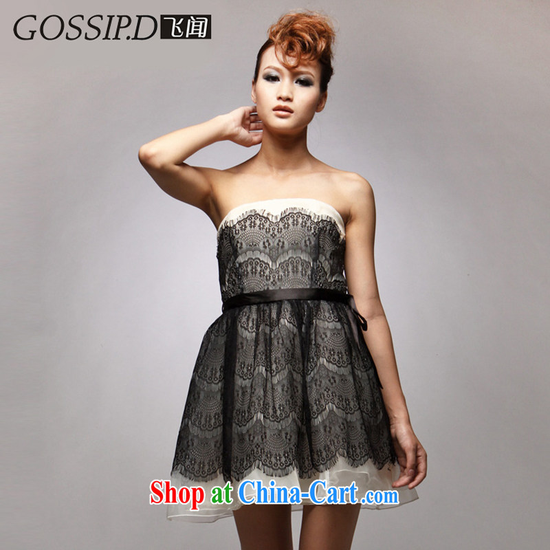 GOSSIP . D special black dress Princess beauty banquet short small dress code is the bare chest lace dress 1017 black European root Elizabeth L