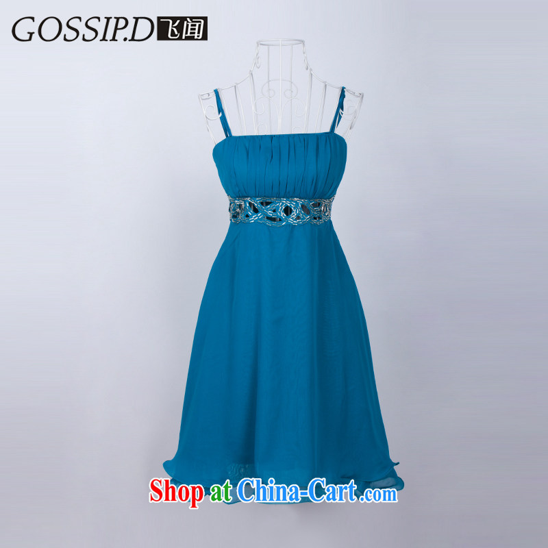 GOSSIP . D special bridesmaid toast dress uniform dress short Princess sweet little dress Evening Dress dress 1037 Lake green waist Openwork L