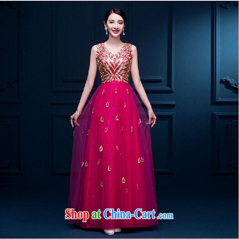 2015 new wedding double-shoulder marriages served toast long beauty banquet dress show dress girls summer pink tailored contact Customer Service