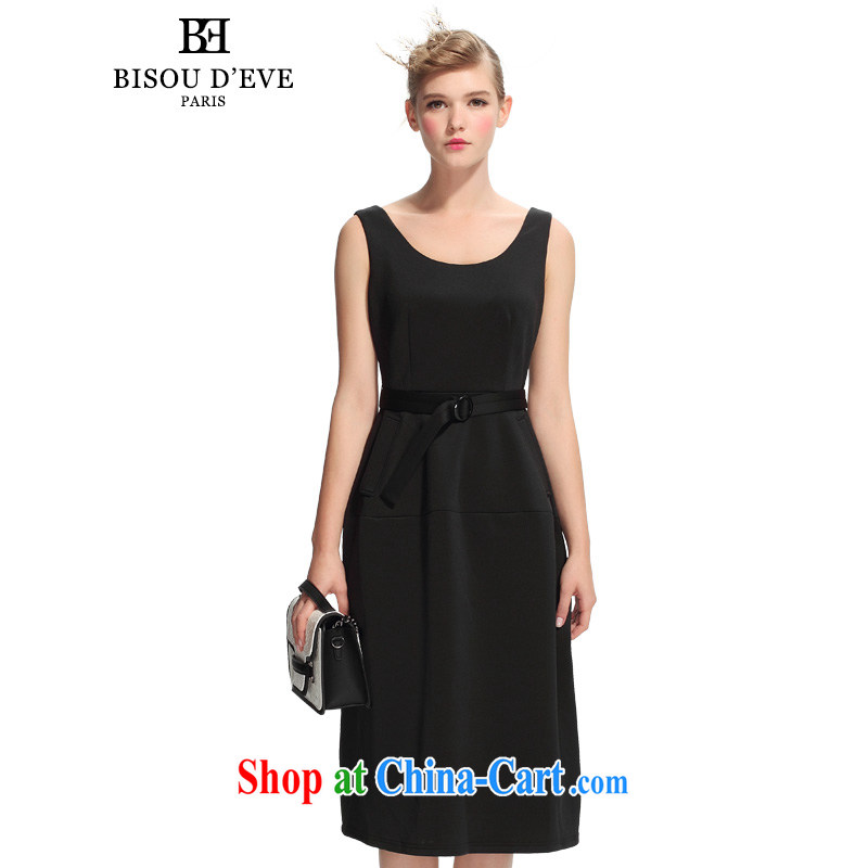 Pi-Mrs Diana would fall 2015 new round-collar sleeveless long antique dresses A Field skirt the skirt dress BH 03134335 black L